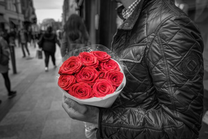 holding, red roses, romance
